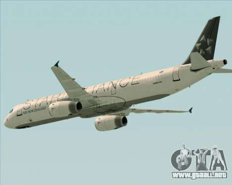 Airbus A321-200 Air New Zealand (Star Alliance) para la vista superior GTA San Andreas