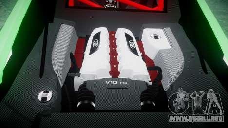 Audi R8 GT Coupe 2011 Yoshino para GTA 4 vista lateral