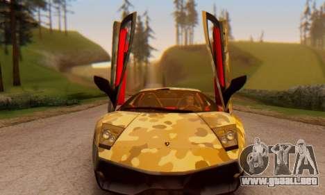 Lamborghini Murcielago Camo SV para GTA San Andreas vista hacia atrás