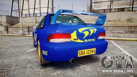 Subaru Impreza WRC 1998 Rally v3.0 Yellow para GTA 4 Vista posterior izquierda