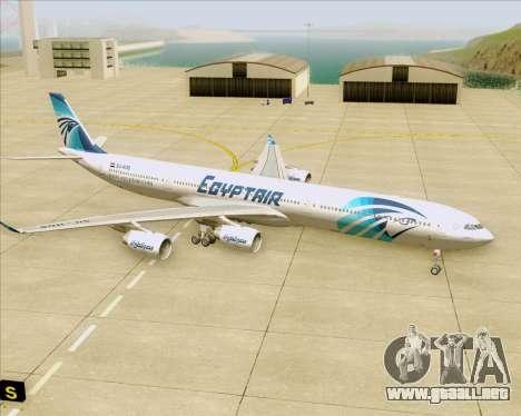 Airbus A340-600 EgyptAir para vista inferior GTA San Andreas