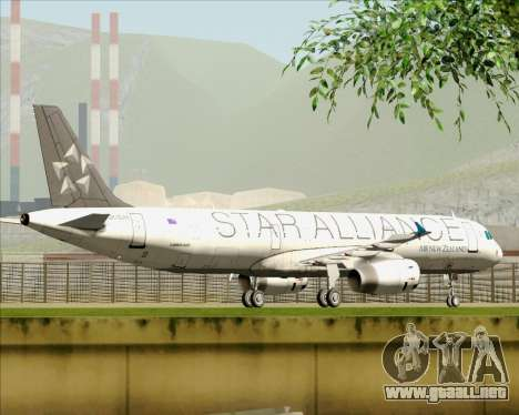 Airbus A321-200 Air New Zealand (Star Alliance) para vista inferior GTA San Andreas