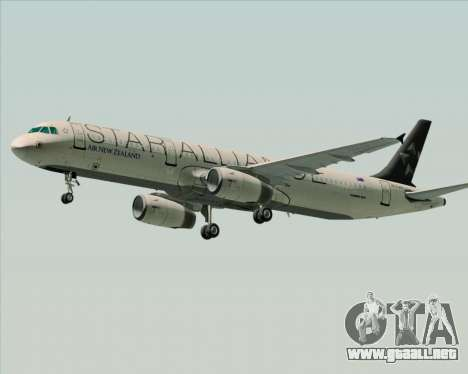 Airbus A321-200 Air New Zealand (Star Alliance) para GTA San Andreas vista posterior izquierda