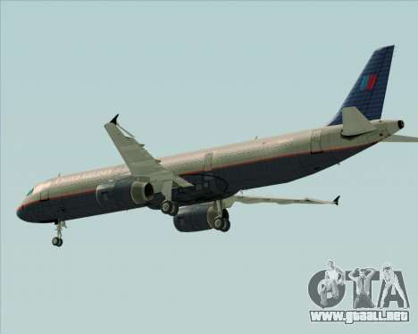 Airbus A321-200 United Airlines para vista inferior GTA San Andreas