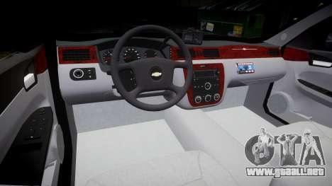 Chevrolet Impala 2010 Undercover [ELS] para GTA 4 vista hacia atrás