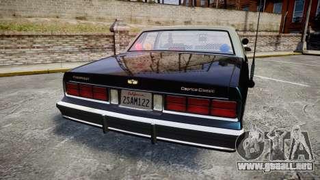 Chevrolet Caprice 1986 Brougham Police [ELS] para GTA 4 Vista posterior izquierda