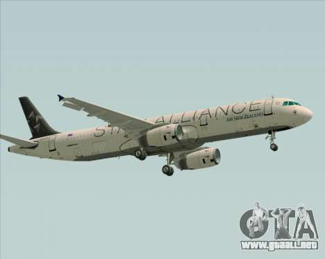 Airbus A321-200 Air New Zealand (Star Alliance) para GTA San Andreas vista hacia atrás