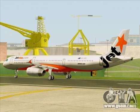 Airbus A321-200 Jetstar Airways para GTA San Andreas vista hacia atrás