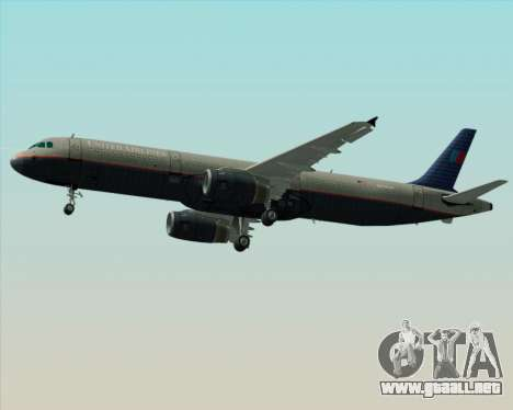 Airbus A321-200 United Airlines para vista lateral GTA San Andreas