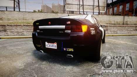 GTA V Cheval Fugitive LS Police [ELS] Slicktop para GTA 4 Vista posterior izquierda