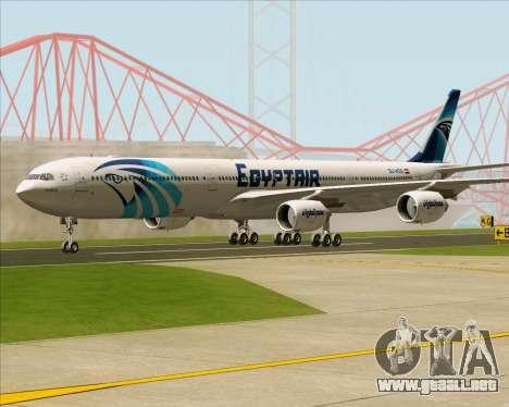 Airbus A340-600 EgyptAir para GTA San Andreas vista posterior izquierda