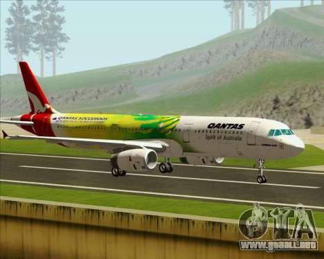 Airbus A321-200 Qantas (Socceroos Livery) para GTA San Andreas left