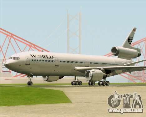 McDonnell Douglas DC-10-30 World Airways para GTA San Andreas vista hacia atrás