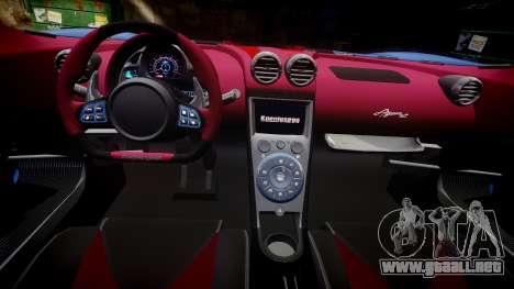Koenigsegg Agera R 2013 [EPM] v1.5 Low Quality para GTA 4 vista hacia atrás