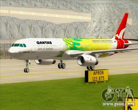 Airbus A321-200 Qantas (Socceroos Livery) para la vista superior GTA San Andreas
