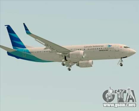 Boeing 737-800 Garuda Indonesia para GTA San Andreas vista posterior izquierda