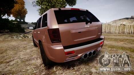 Jeep Grand Cherokee SRT8 rim lights para GTA 4 Vista posterior izquierda