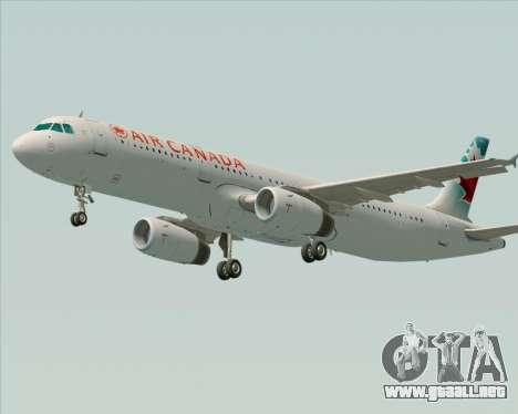 Airbus A321-200 Air Canada para GTA San Andreas vista posterior izquierda