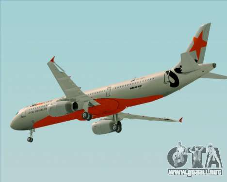 Airbus A321-200 Jetstar Airways para vista inferior GTA San Andreas