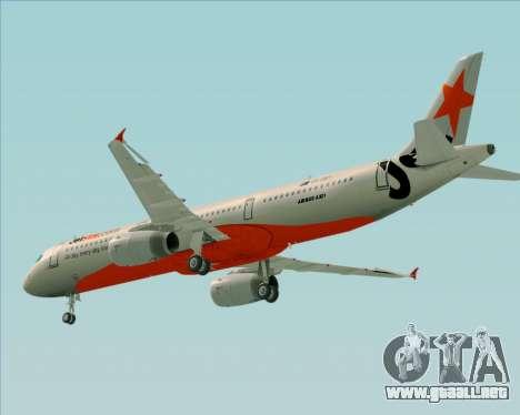 Airbus A321-200 Jetstar Airways para vista inferior GTA San Andreas