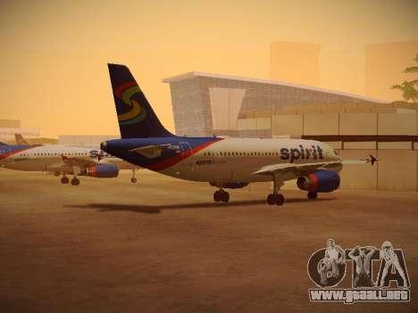 Airbus A319-132 Spirit Airlines para GTA San Andreas vista posterior izquierda