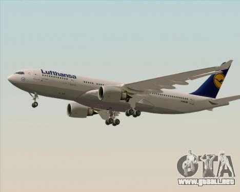Airbus A330-200 Lufthansa para GTA San Andreas vista posterior izquierda