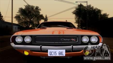 Dodge Challenger 426 Hemi (JS23) 1970 (ImVehFt) para GTA San Andreas vista hacia atrás