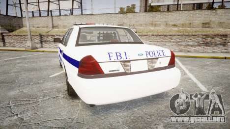 Ford Crown Victoria F.B.I. Police [ELS] para GTA 4 Vista posterior izquierda