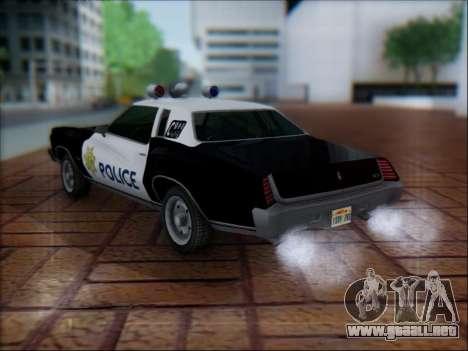 Chevrolet Monte Carlo 1973 Police para GTA San Andreas vista posterior izquierda
