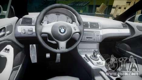 BMW M3 E46 2001 Tuned Wheel Gold para GTA 4 vista hacia atrás