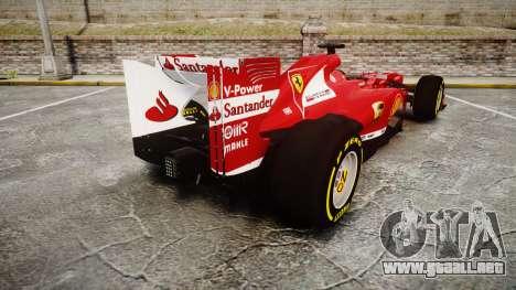 Ferrari F138 v2.0 [RIV] Alonso TSD para GTA 4 Vista posterior izquierda