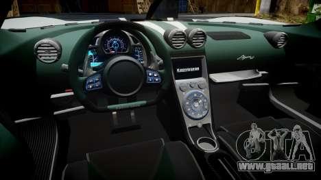 Koenigsegg Agera R 2013 [EPM] v1.5 para GTA 4 vista hacia atrás