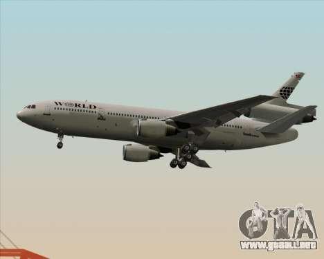 McDonnell Douglas DC-10-30 World Airways para GTA San Andreas vista posterior izquierda