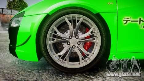 Audi R8 GT Coupe 2011 Yoshino para GTA 4 vista hacia atrás