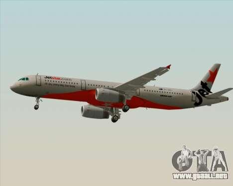 Airbus A321-200 Jetstar Airways para GTA San Andreas vista posterior izquierda