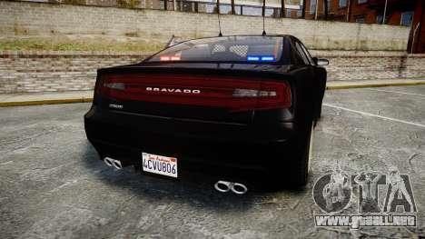 GTA V Bravado Buffalo Unmarked [ELS] Slicktop para GTA 4 Vista posterior izquierda