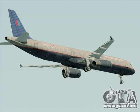 Airbus A321-200 United Airlines para la visión correcta GTA San Andreas