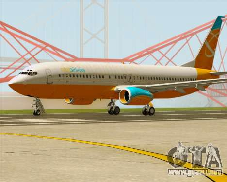 Boeing 737-800 Orbit Airlines para GTA San Andreas vista posterior izquierda