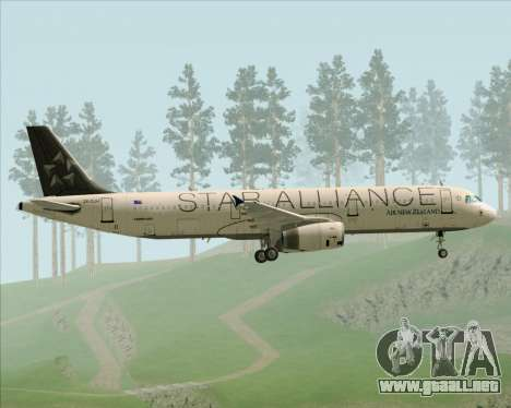 Airbus A321-200 Air New Zealand (Star Alliance) para vista lateral GTA San Andreas