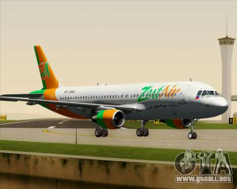 Airbus A320-200 Zest Air para vista inferior GTA San Andreas