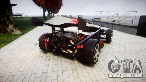 Ariel Atom V8 2010 [RIV] v1.1 Rosso & Bianco para GTA 4 Vista posterior izquierda