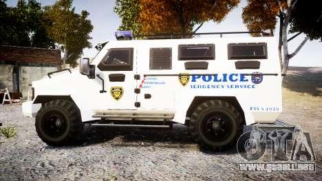 SWAT Van Police Emergency Service [ELS] para GTA 4 left