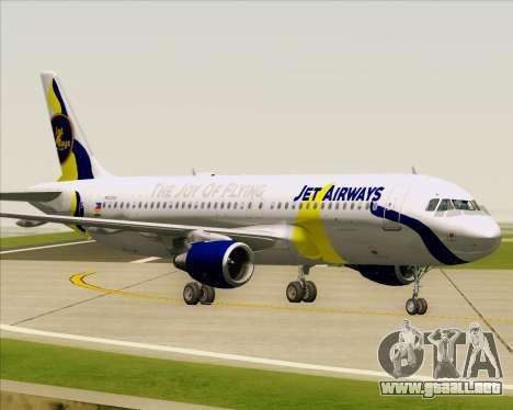 Airbus A320-200 Jet Airways para vista inferior GTA San Andreas