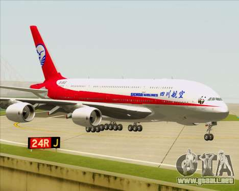 Airbus A380-800 Sichuan Airlines para GTA San Andreas vista posterior izquierda
