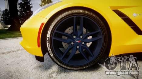 Chevrolet Corvette C7 Stingray 2014 v2.0 TireCon para GTA 4 vista hacia atrás