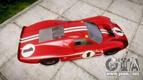 Ford GT40 Mark IV 1967 PJ 1 para GTA 4 visión correcta