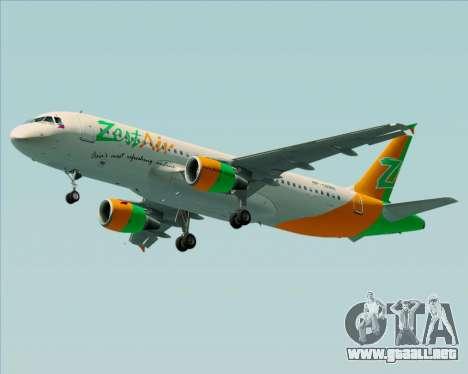 Airbus A320-200 Zest Air para las ruedas de GTA San Andreas