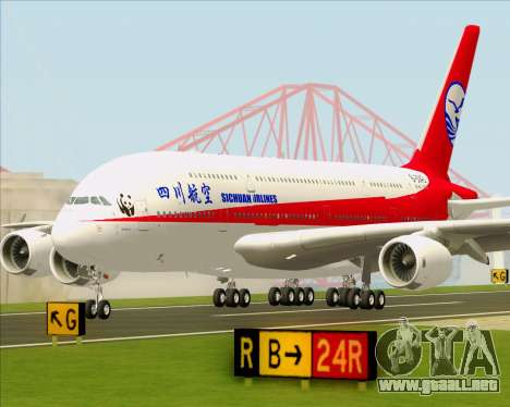 Airbus A380-800 Sichuan Airlines para la vista superior GTA San Andreas