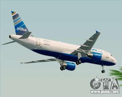 Airbus A320-200 JetBlue Airways para GTA San Andreas vista hacia atrás