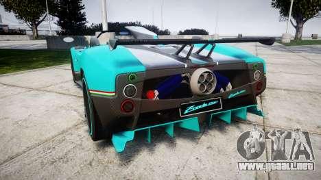 Pagani Zonda Uno para GTA 4 Vista posterior izquierda